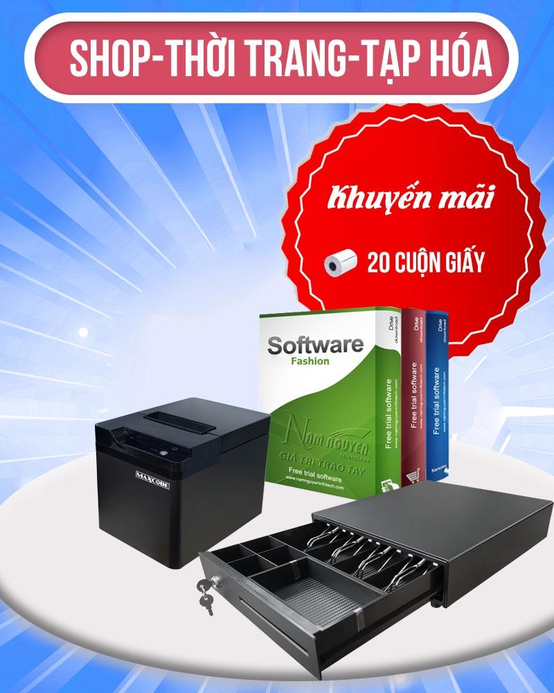 Trọn bộ thiết bị bán hàng: Máy in hóa đơn-Phần mềm bán hàng-Ngăn kéo đựng tiền-GIấy in hóa đơn