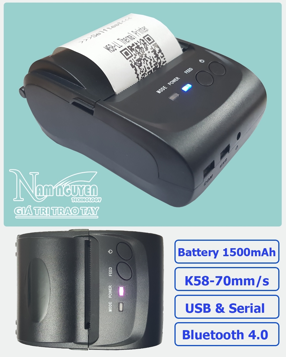 Máy in bill Bluetooth MINI PRINTER POS-5802DD