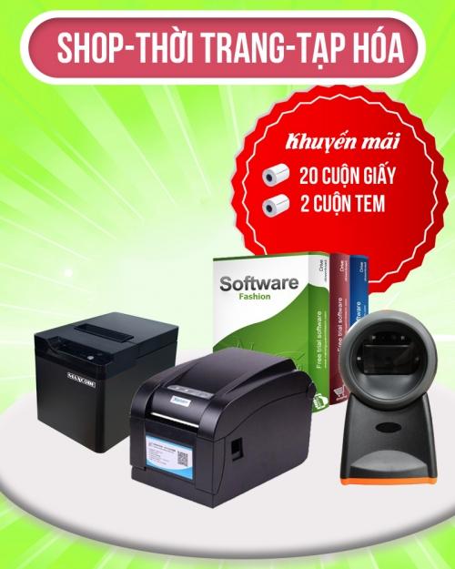 Trọn bộ thiết bị bán hàng: Máy in hóa đơn-Máy in tem nhãn-Máy quét mã vạch-Phần mềm bán hàng-Giấy in hóa đơn