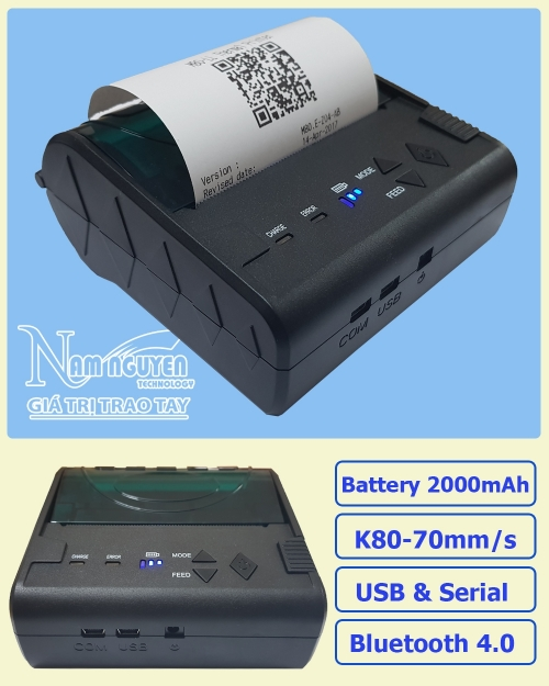 Máy in bill Bluetooth Mini Printer Pos-8003DD