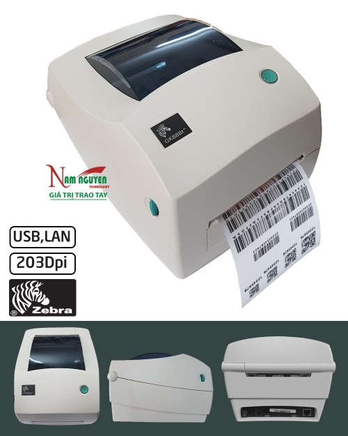 Máy in mã vạch Zebra GK888T (LAN,USB)